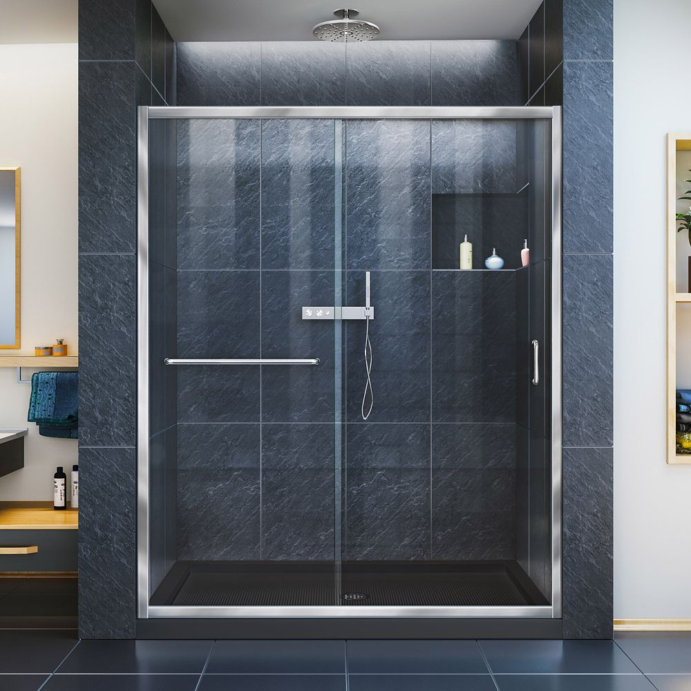 DreamLine Infinity-Z 30 inch D x 60 inch W Clear Shower Door in Chrome and Center Drain Black Base