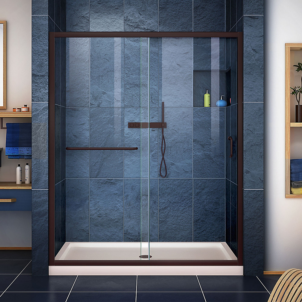 Infinity-Z 30 inch D x 60 inch W Clear Shower Door in Oil Rubbed Bronze, Center Drain Biscuit Base