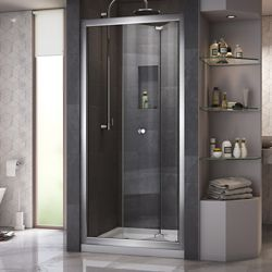 DreamLine Butterfly 36 inch D x 36 inch W Bi-Fold Shower Door in Chrome with Center Drain Biscuit Base Kit