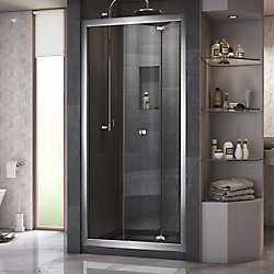 DreamLine Butterfly 36 inch D x 36 inch W Bi-Fold Shower Door in Chrome with Center Drain Black Base Kit