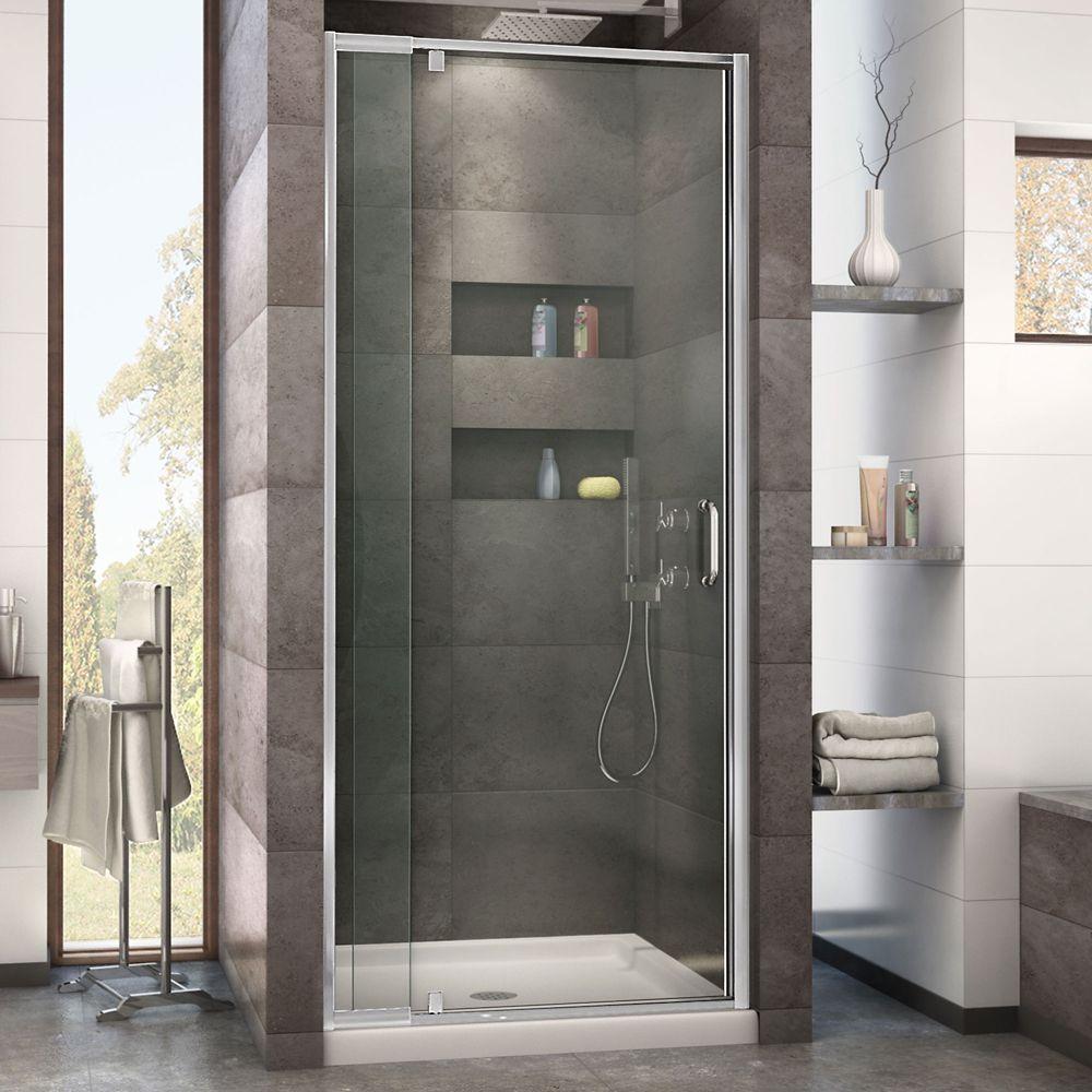 DreamLine Flex 36 inch D x 36 inch W x 74 3/4 inch H Shower Door in Chrome with Center Drain Biscuit Base Kit