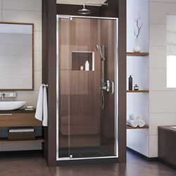 DreamLine Flex 36 inch D x 36 inch W x 74 3/4 inch H Shower Door in Chrome with Center Drain Black Base Kit
