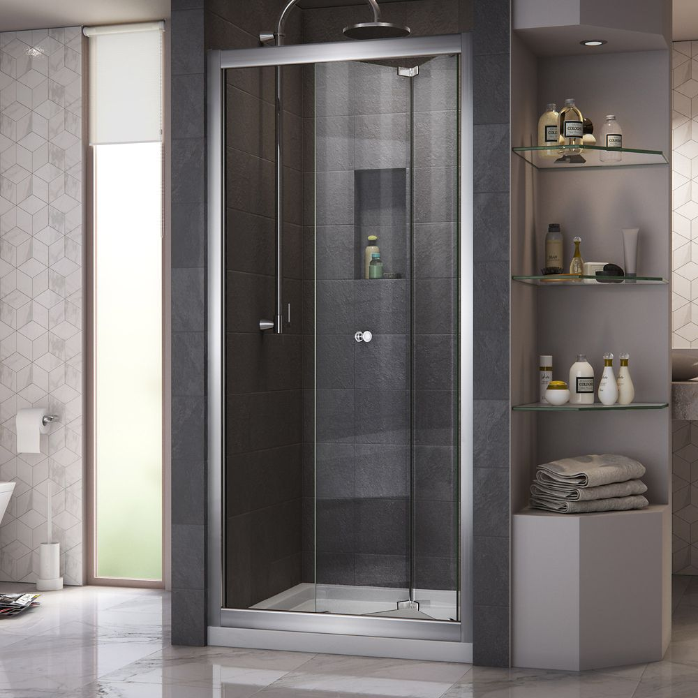 DreamLine Butterfly 32 inch D x 32 inch W Bi-Fold Shower Door in Chrome with Center Drain Biscuit Base Kit