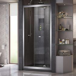 DreamLine Butterfly 32 inch D x 32 inch W Bi-Fold Shower Door in Chrome with Center Drain Black Base Kit