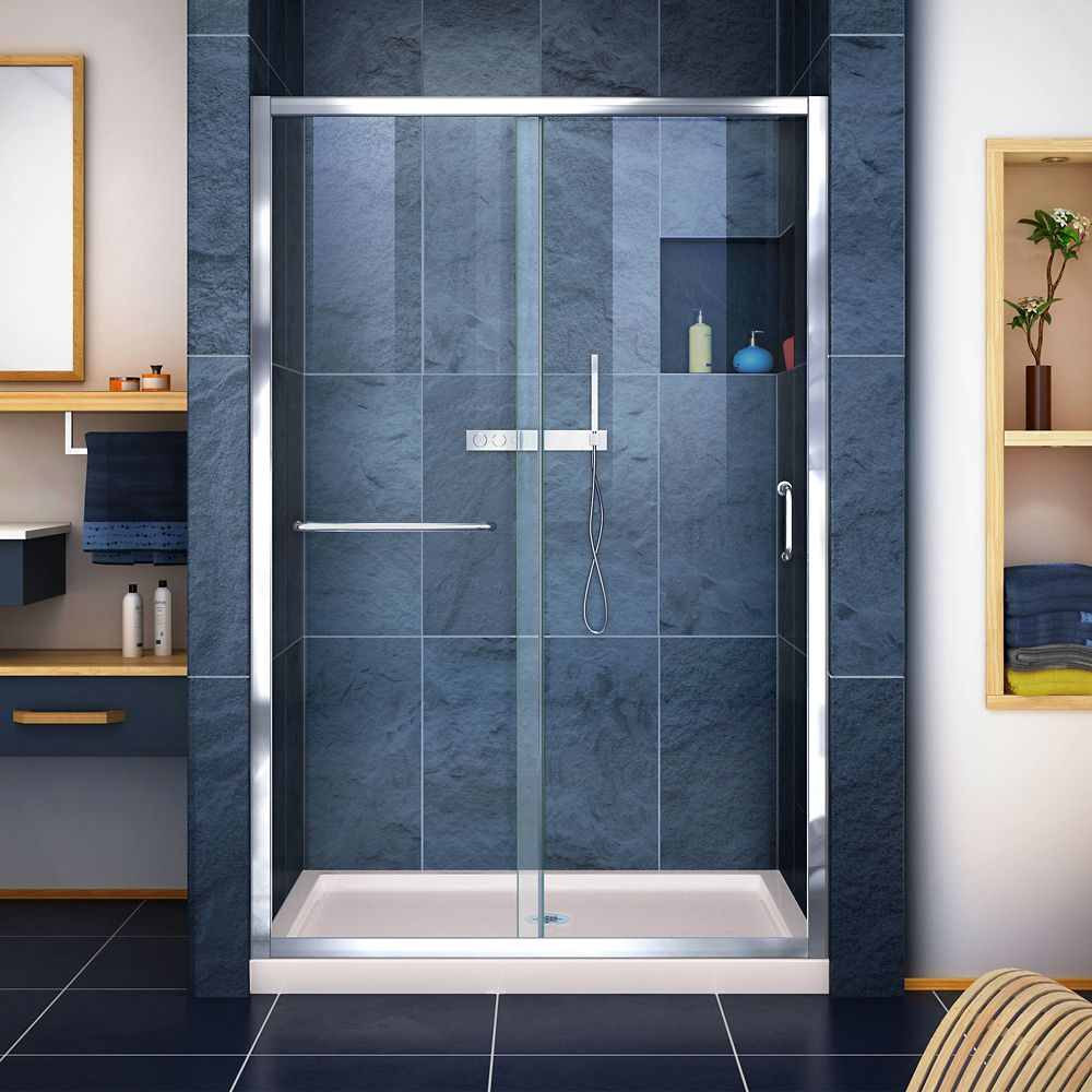 DreamLine Infinity-Z 36 inch D x 48 inch W Clear Shower Door in Chrome and Center Drain Biscuit Base