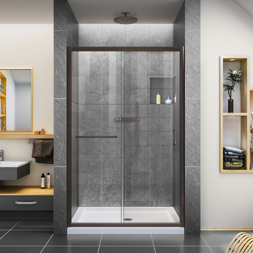 DreamLine Infinity-Z 36 inch D x 48 inch W Clear Shower Door in Oil Rubbed Bronze and Center Drain White Base
