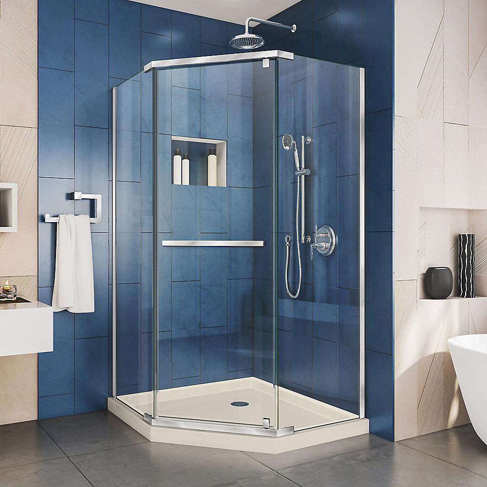 Prism 36 inch D x 36 inch W x 74 3/4 H Shower Enclosure in Chrome and Corner Drain Biscuit Base Kit