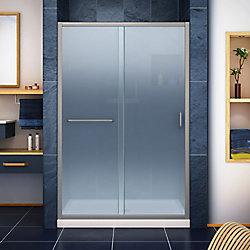 DreamLine Infinity-Z 36 inch D x 48 inch W Frosted Shower Door in Brushed Nickel, Center Drain Biscuit Base