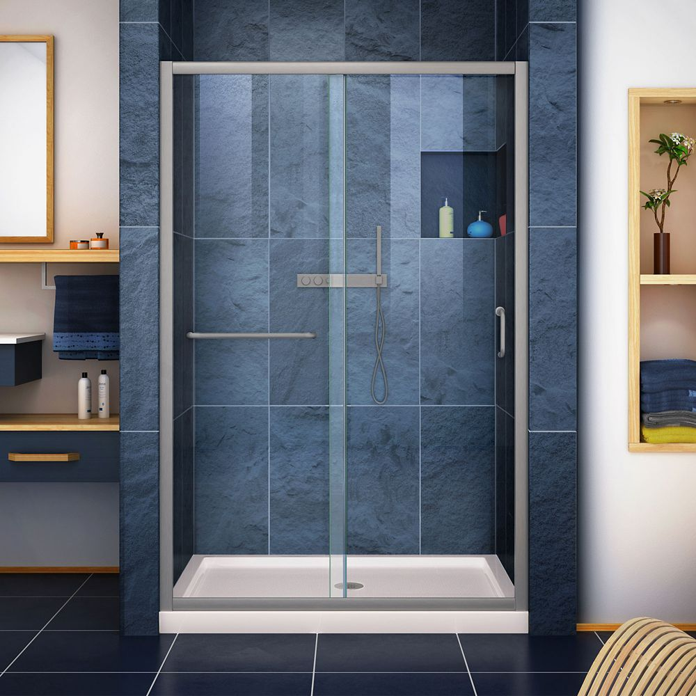 DreamLine Infinity-Z 36 inch D x 48 inch W Clear Shower Door in Brushed Nickel and Center Drain Biscuit Base