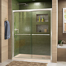 DreamLine Duet 32 inch D x 60 inch W Shower Door in Brushed Nickel with Right Drain Biscuit Base Kit