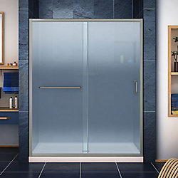 DreamLine Infinity-Z 32 inch D x 54 inch W Frosted Shower Door in Brushed Nickel, Center Drain Biscuit Base
