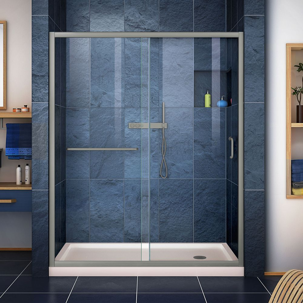 DreamLine Infinity-Z 32 inch D x 54 inch W Clear Shower Door in Brushed Nickel and Center Drain Biscuit Base