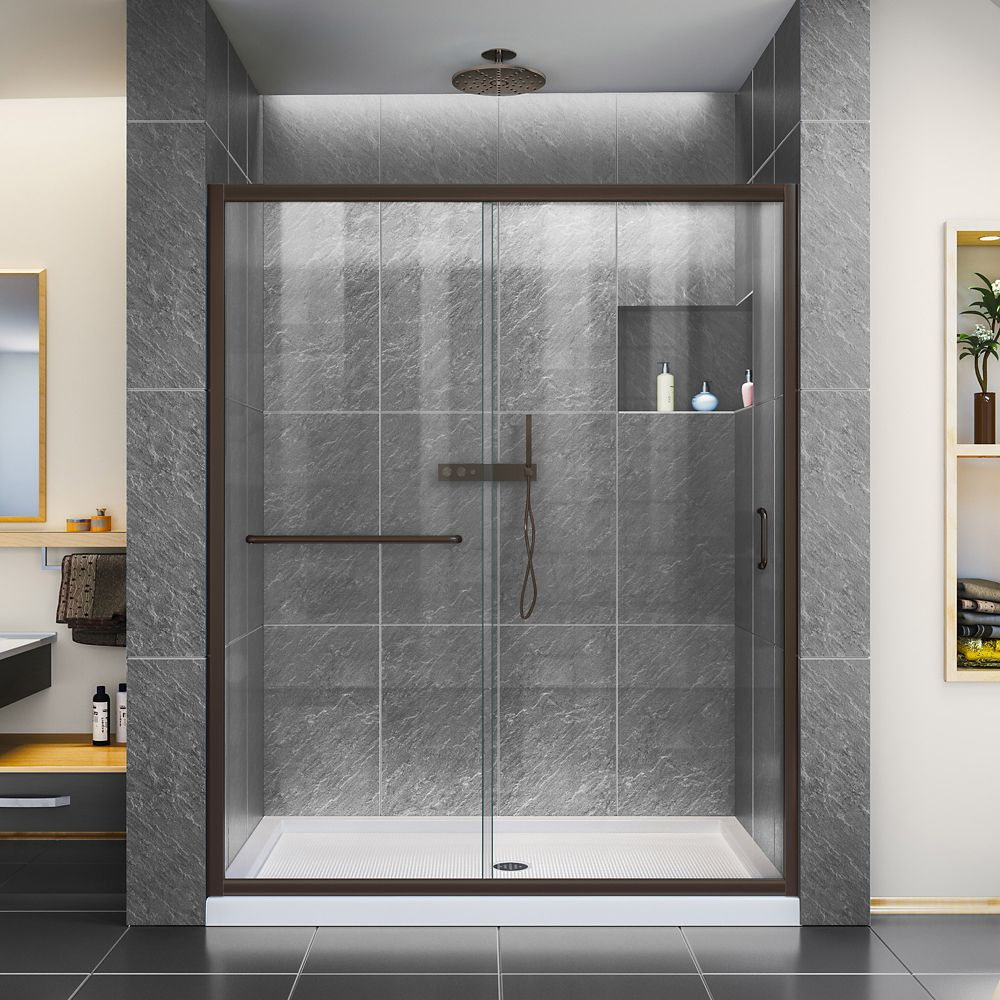 DreamLine Infinity-Z 32 inch D x 54 inch W Clear Shower Door in Oil Rubbed Bronze and Center Drain White Base