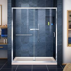 DreamLine Infinity-Z 32 inch D x 54 inch W Clear Shower Door in Chrome and Center Drain Biscuit Base
