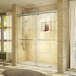 DreamLine Charisma 30 inch D x 60 inch W Shower Door in Brushed Nickel with Right Drain Biscuit Base Kit