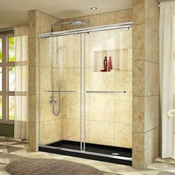 DreamLine Charisma 36 inch D x 60 inch W x 78 3/4 inch H Shower Door in Chrome with Right Drain Black Base Kit