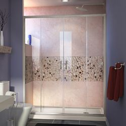 DreamLine Visions 32 inch D x 60 inch W Shower Door in Brushed Nickel with Right Drain Biscuit Shower Base
