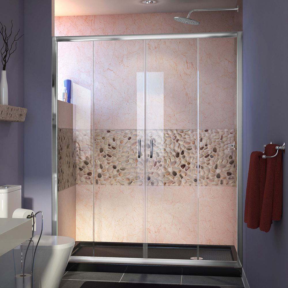 DreamLine Visions 32 inch D x 60 inch W Shower Door in Chrome with Right Drain Black Shower Base