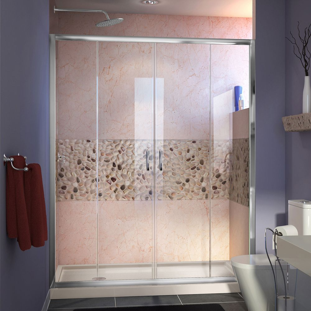 DreamLine Visions 32 inch D x 60 inch W Shower Door in Chrome with Left Drain Biscuit Shower Base