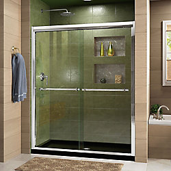 DreamLine Duet 36 inch D x 48 inch W x 74 3/4 inch H Shower Door in Chrome with Center Drain Black Base Kit