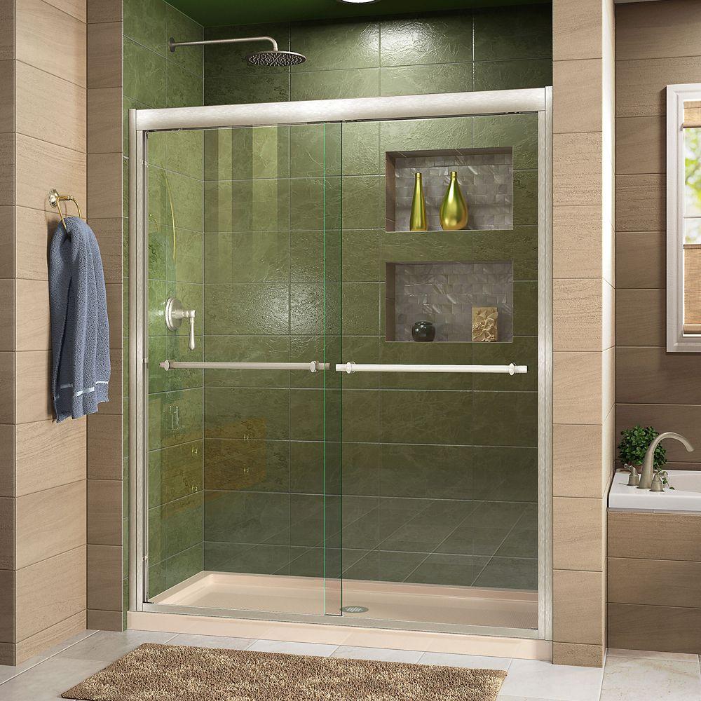 DreamLine Duet 36 inch D x 60 inch W Shower Door in Brushed Nickel with Center Drain Biscuit Base Kit