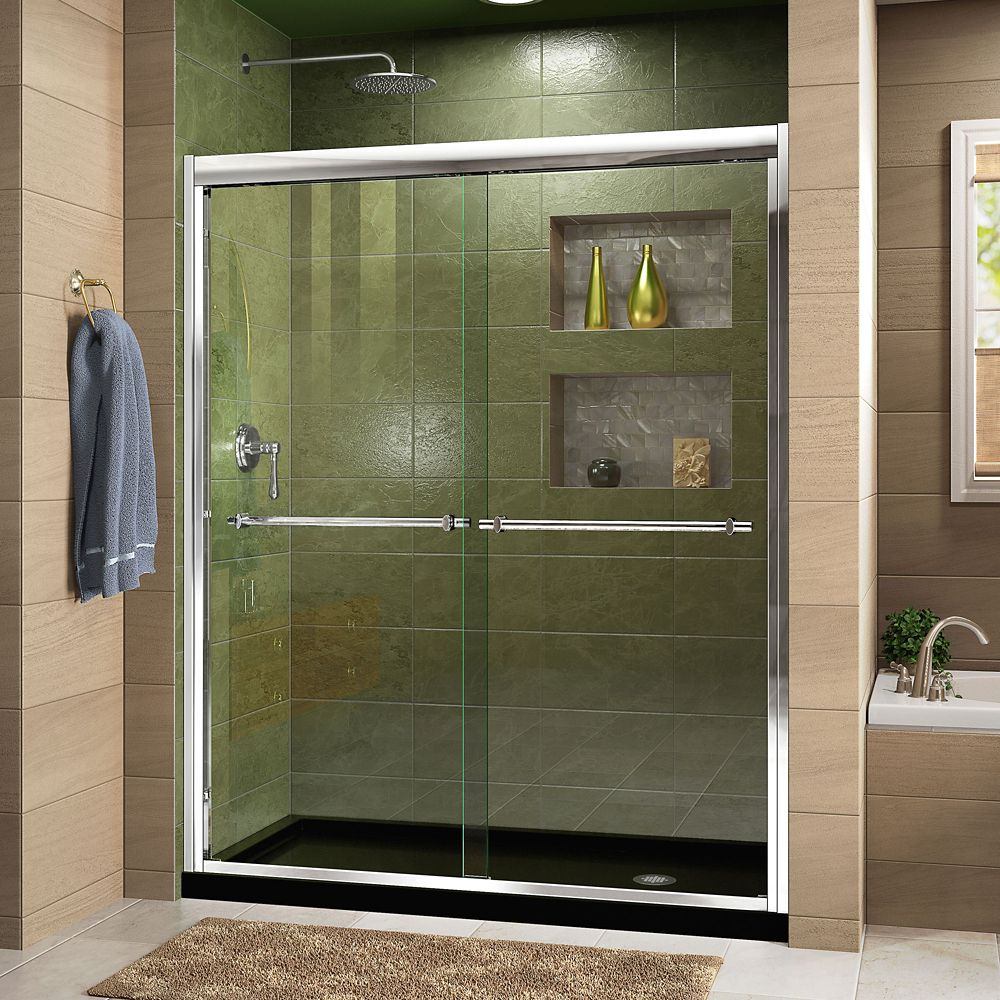 DreamLine Duet 36 inch D x 60 inch W x 74 3/4 inch H Shower Door in Chrome with Right Drain Black Base Kit