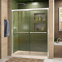DreamLine Duet 36 inch D x 60 inch W Shower Door in Brushed Nickel with Left Drain Biscuit Base Kit