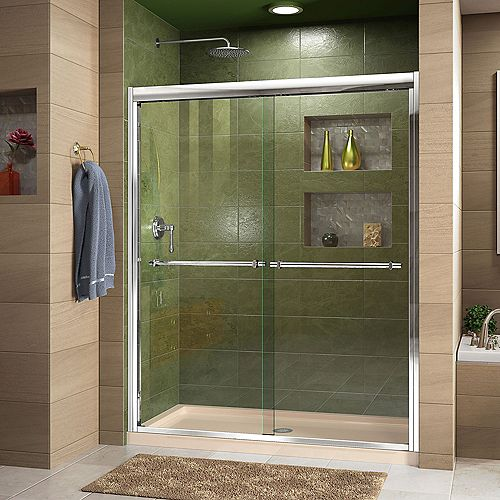 DreamLine Duet 36 inch D x 60 inch W x 74 3/4 inch H Shower Door in Chrome with Center Drain Biscuit Base Kit