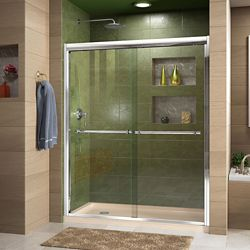 DreamLine Duet 34 inch D x 60 inch W x 74 3/4 inch H Shower Door in Chrome with Left Drain Biscuit Base Kit