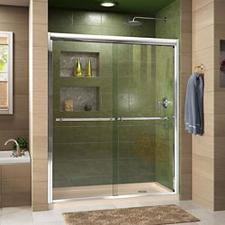 DreamLine Duet 30 inch D x 60 inch W x 74 3/4 inch H Shower Door in Chrome with Right Drain Biscuit Base Kit