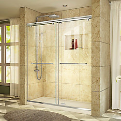 DreamLine Charisma 34 inch D x 60 inch W x 78 3/4 inch H Shower Door in Chrome with Center Drain Biscuit Base