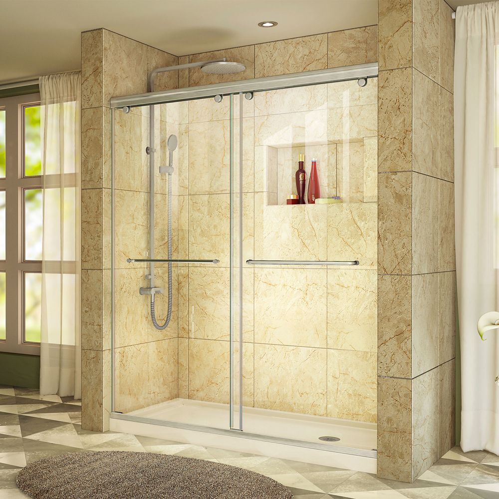 DreamLine Charisma 34 inch D x 60 inch W Shower Door in Brushed Nickel with Right Drain Biscuit Base