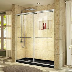 DreamLine Charisma 34 inch D x 60 inch W x 78 3/4 inch H Shower Door in Chrome with Left Drain Black Base