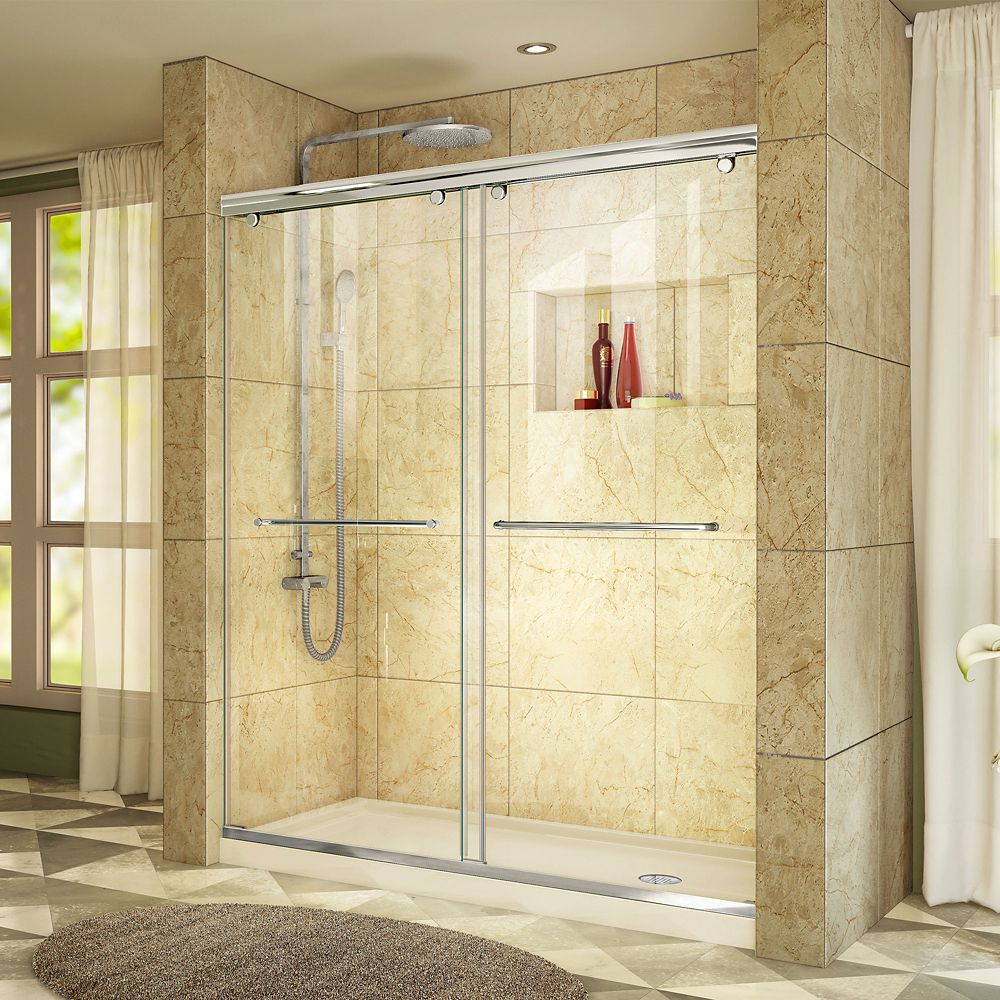 DreamLine Charisma 34 inch D x 60 inch W x 78 3/4 inch H Shower Door in Chrome with Right Drain Biscuit Base