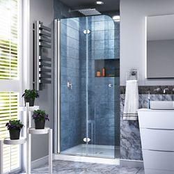 DreamLine Aqua Fold 32 inch D x 32 inch W Bi-Fold Shower Door in Chrome with White Acrylic Base Kit