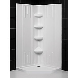 DreamLine 40 inch x 40 inch x 75 5/8 inch H Neo-Angle Shower Base and QWALL-2 Acrylic Corner Backwall in White