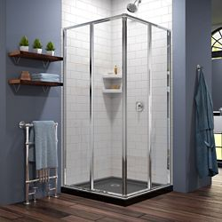 DreamLine Cornerview 36 inch D x 36 inch W x 74 3/4 inch H Shower Enclosure in Chrome with Black Acrylic Base