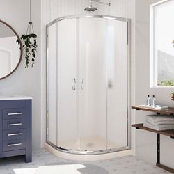 DreamLine Prime 36 inch D x 36 inch W Frosted Framed Shower Enclosure in Chrome, Corner Drain Biscuit Base