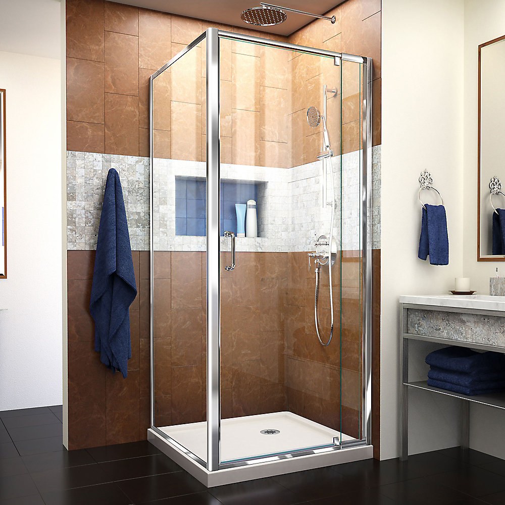 Flex 32 inch D x 32 inch W x 74 3/4 inch H Shower Enclosure in Chrome with Corner Drain Biscuit Base