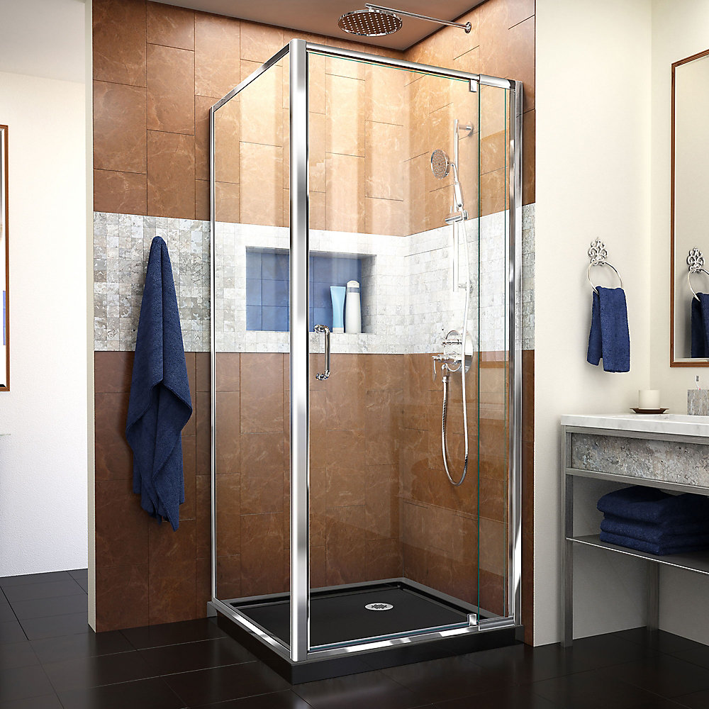 Flex 32 inch D x 32 inch W x 74 3/4 inch H Shower Enclosure in Chrome with Corner Drain Black Base