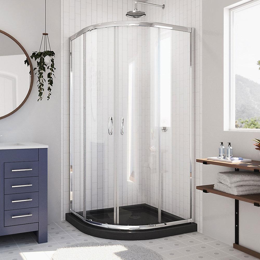 Prime 36 inch D x 36 inch W Clear Framed Shower Enclosure in Chrome, Corner Drain Black Base Kit