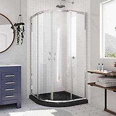 Prime 33 inch D x 33 inch W Clear Framed Shower Enclosure in Chrome, Corner Drain Black Base Kit