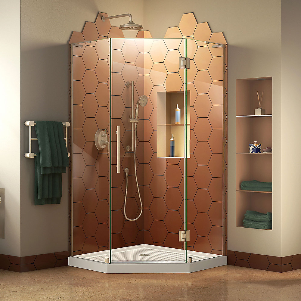 Prism Plus 40 inch D x 40 inch W Shower Enclosure in Brushed Nickel with Corner Drain White Base