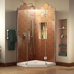 DreamLine Prism Plus 40 inch D x 40 inch W Shower Enclosure in Chrome with Corner Drain Biscuit Base