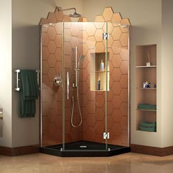 DreamLine Prism Plus 42 inch D x 42 inch W Shower Enclosure in Chrome with Corner Drain Black Base