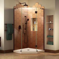 DreamLine Prism Plus 38 inch D x 38 inch W Shower Enclosure in Oil Rubbed Bronze, Corner Drain Biscuit Base