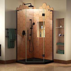 DreamLine Prism Plus 36 inch D x 36 inch W Shower Enclosure in Satin Black with Corner Drain Black Base