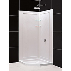 36 inch x 36 inch Neo-Angle Shower Base and QWALL-4 Acrylic Corner Backwall Kit in White