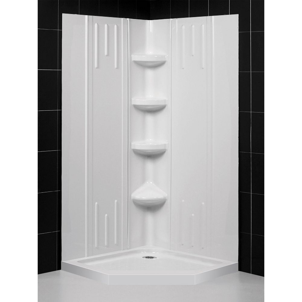 DreamLine 42 inch x 42 inch x 75 5/8 inch H Neo-Angle Shower Base and QWALL-2 Acrylic Corner Backwall in White