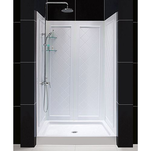 DreamLine 32 inch D x 48 inch W Center Drain Acrylic Shower Base and QWALL-5 Backwall Kit In White